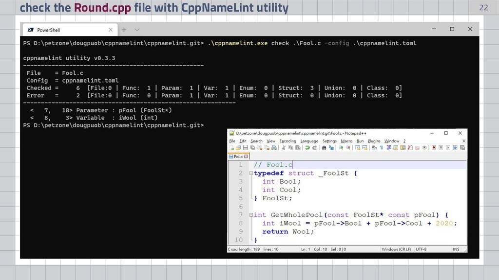22 check the Round.cpp file with CppNameLint ut...