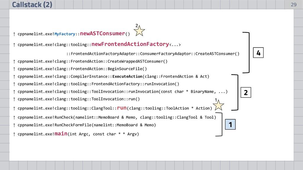 29 Callstack (2) ↑ cppnamelint.exe!MyFactory::n...