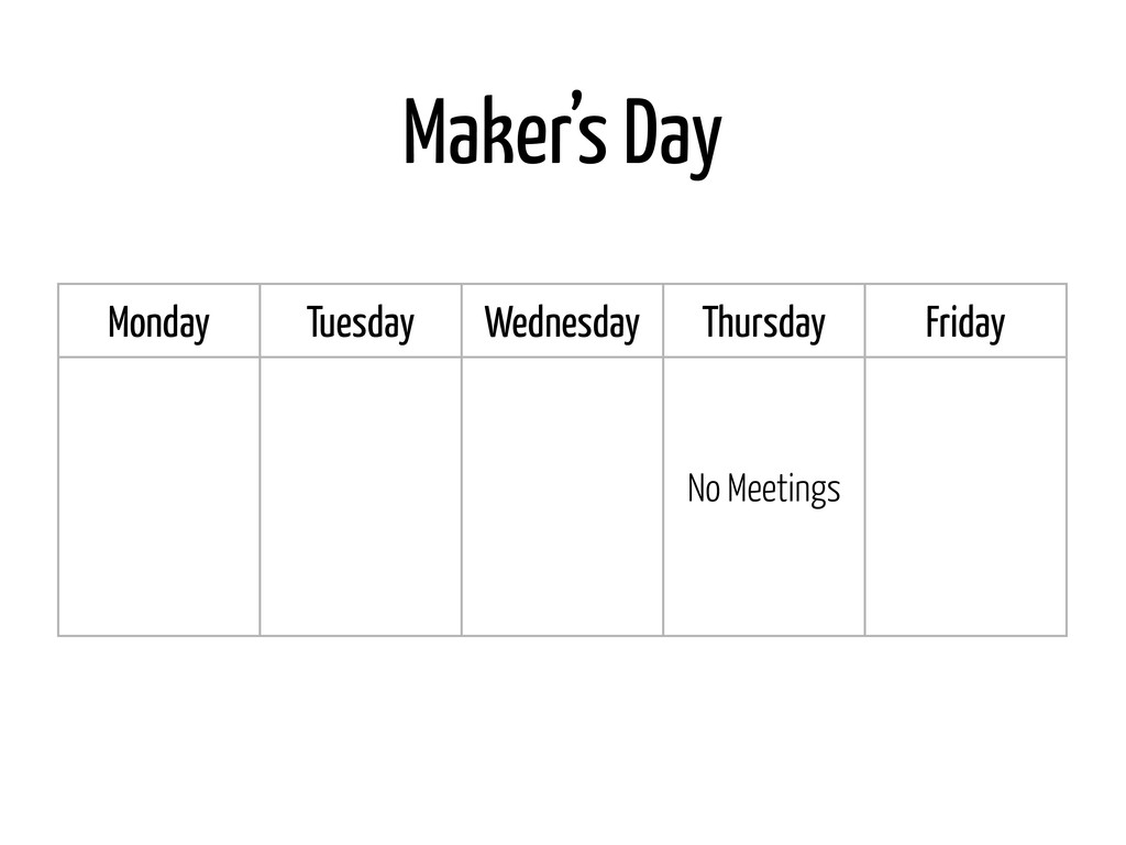 Maker's Day Monday Tuesday Wednesday Thursday F...
