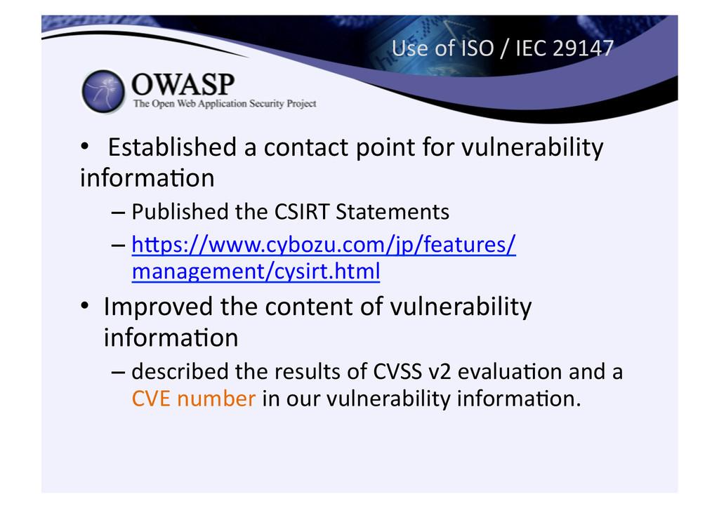 Use of ISO / IEC 29147 • Esta...