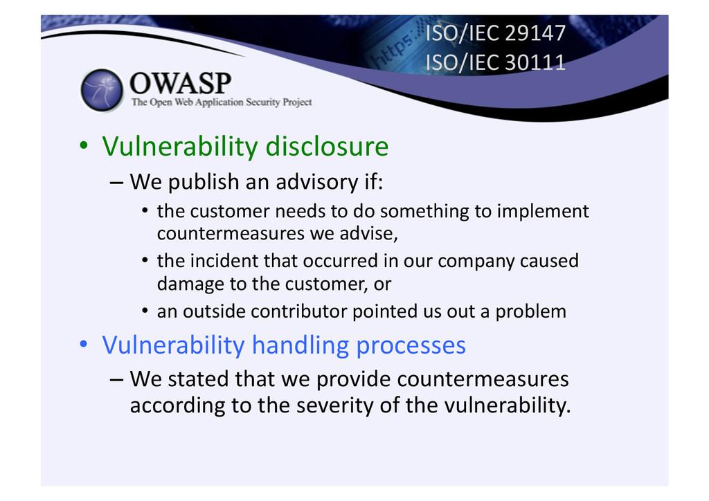 ISO/IEC 29147  ISO/IEC 30111  • Vu...