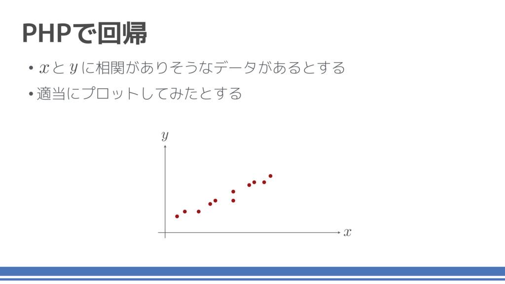 x y • と に相関がありそうなデータがあるとする •適当にプロットしてみたとする y x ...