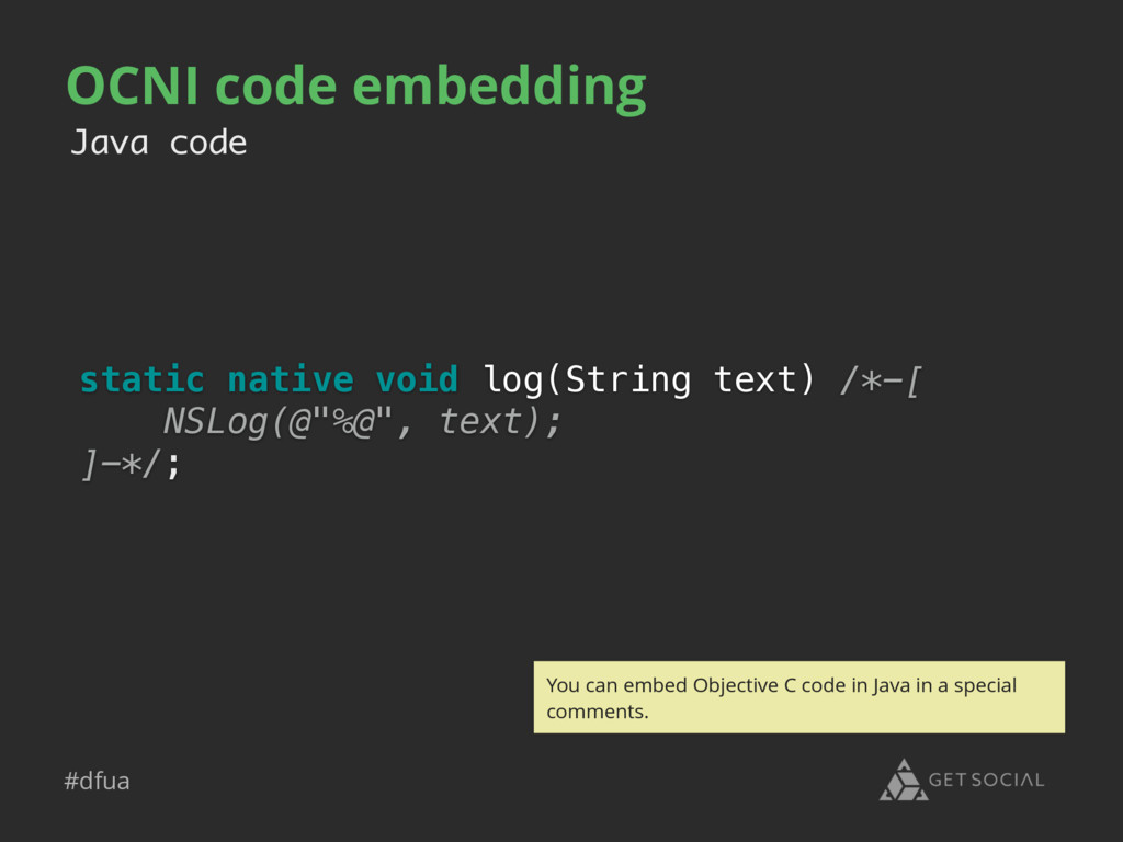 #dfua OCNI code embedding static native void lo...