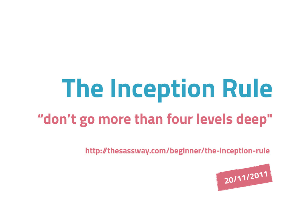 """The Inception Rule """"don't go more than four lev..."""