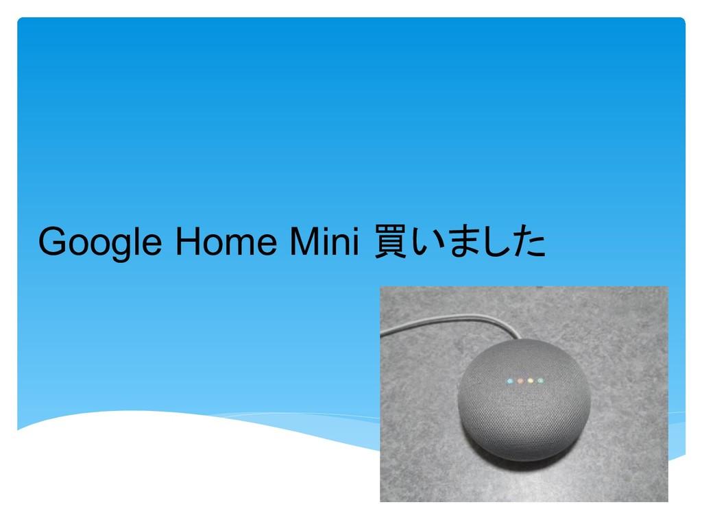Google Home Mini 買