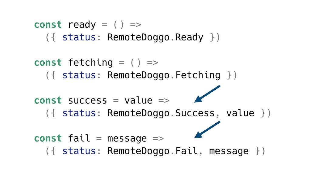 const ready = () => ({ status: RemoteDoggo.Read...