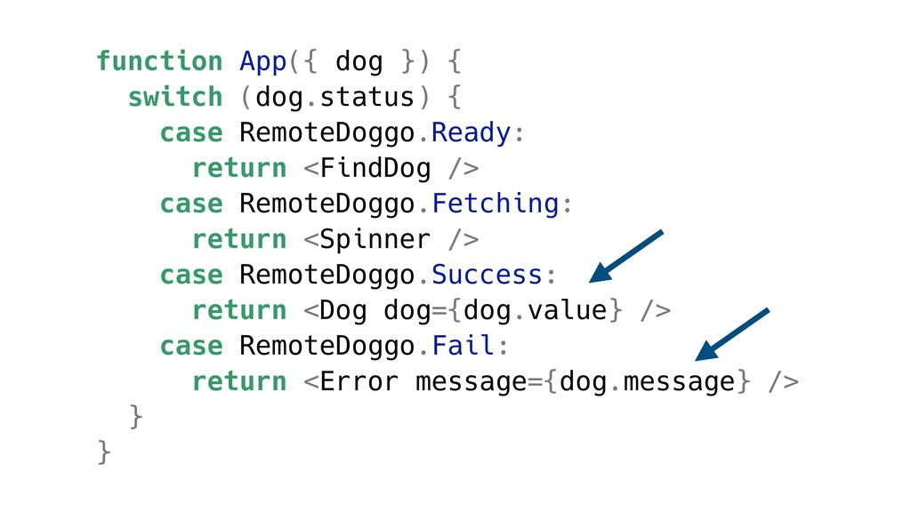 function App({ dog }) { switch (dog.status) { c...