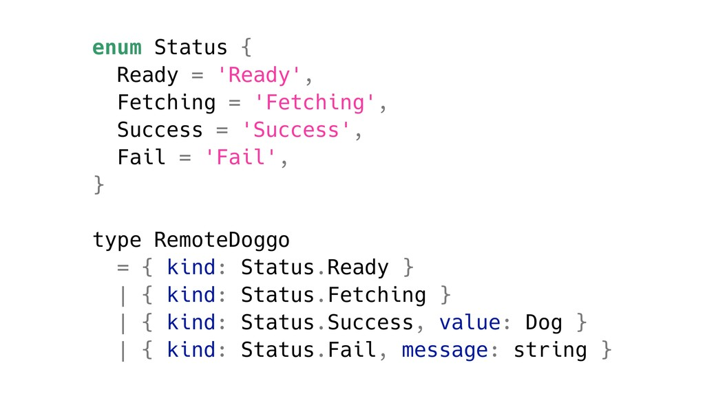 enum Status { Ready = 'Ready', Fetching = 'Fetc...