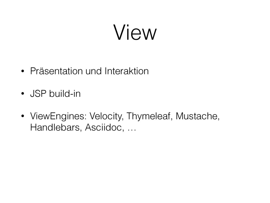 View • Präsentation und Interaktion • JSP build...