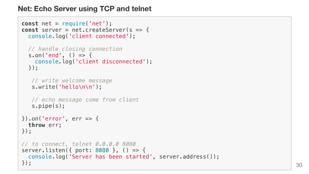 Net: Echo Server using TCP and telnet c o n s t...