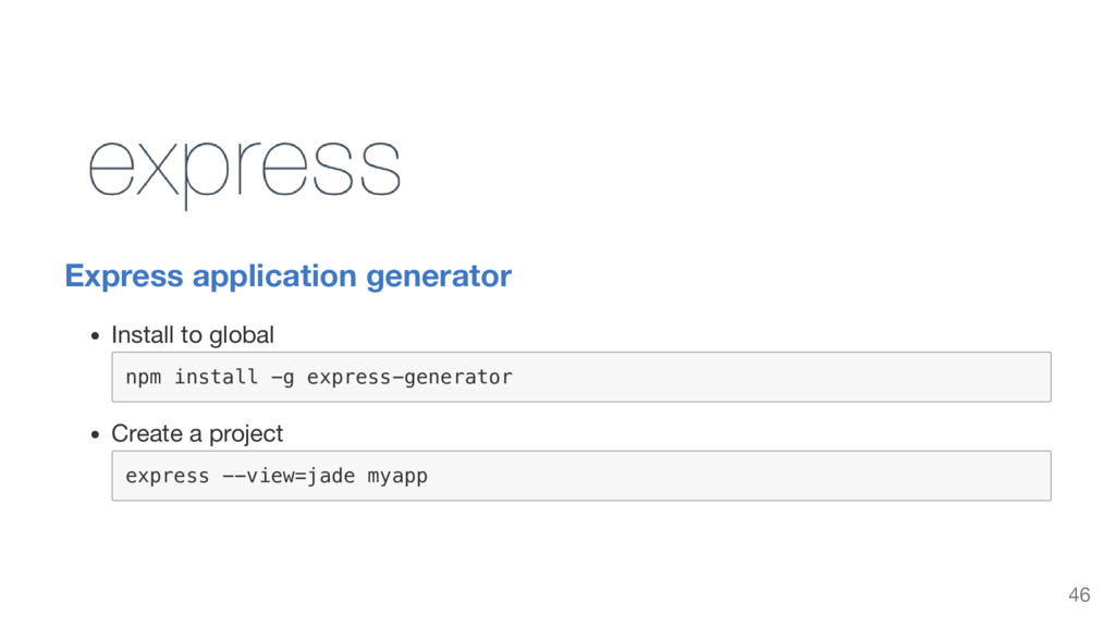 Express application generator Install to global...