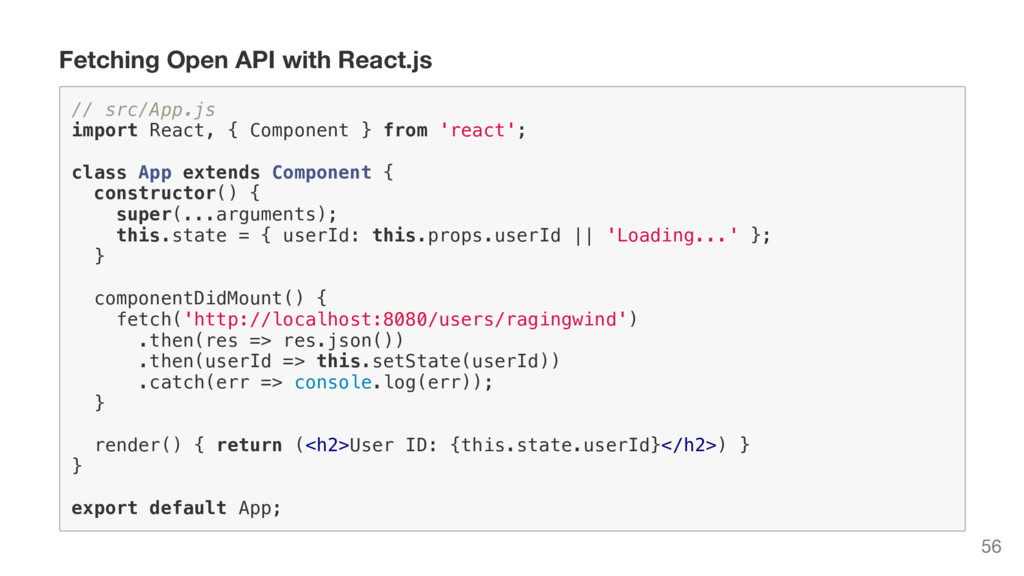 Fetching Open API with React.js / / s r c / A p...