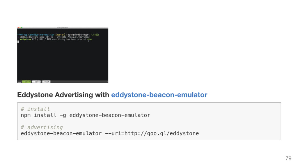 Eddystone Advertising with eddystone-beacon-emu...