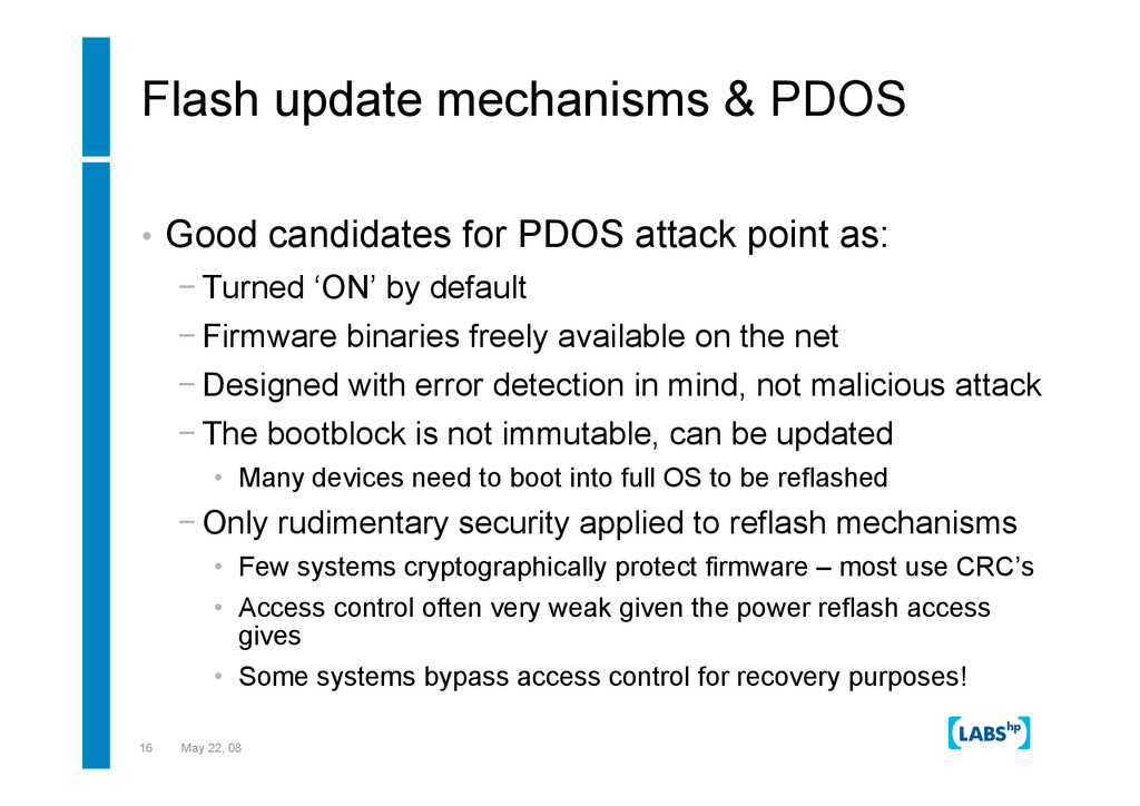 16 May 22, 08 Flash update mechanisms & PDOS • ...