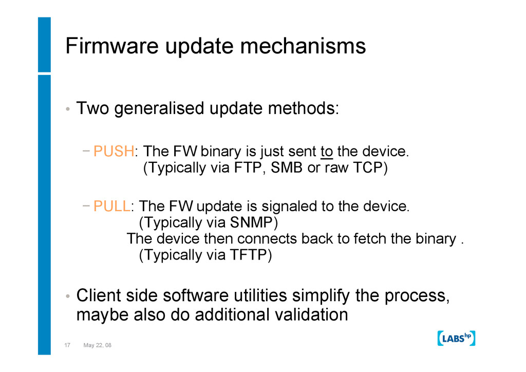17 May 22, 08 Firmware update mechanisms •  Two...