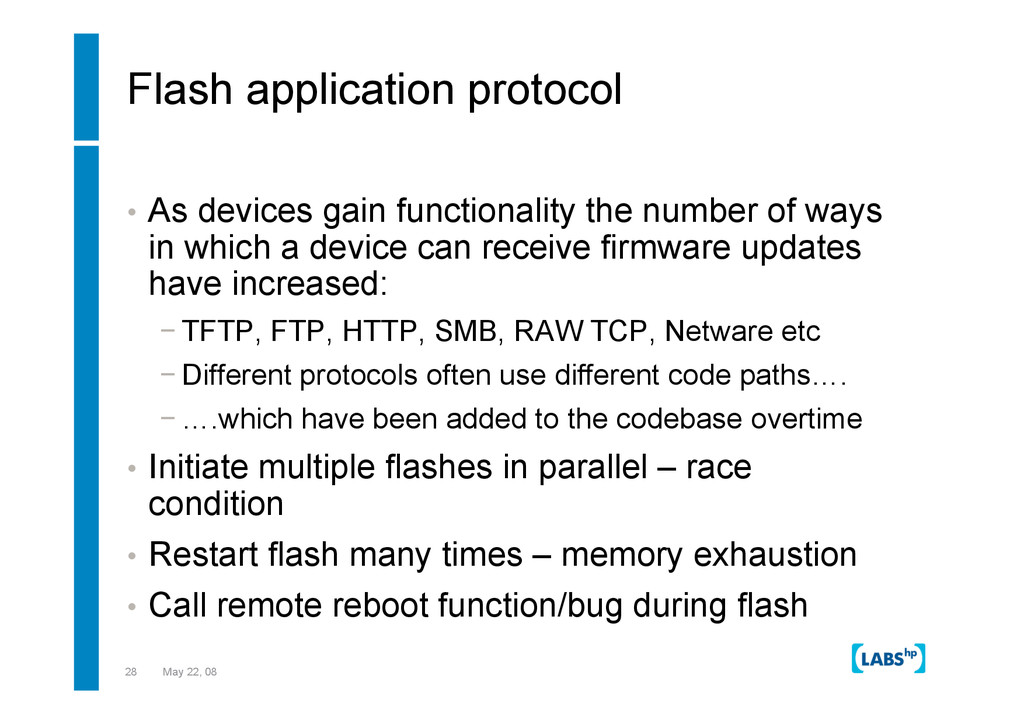 28 May 22, 08 Flash application protocol •  As ...