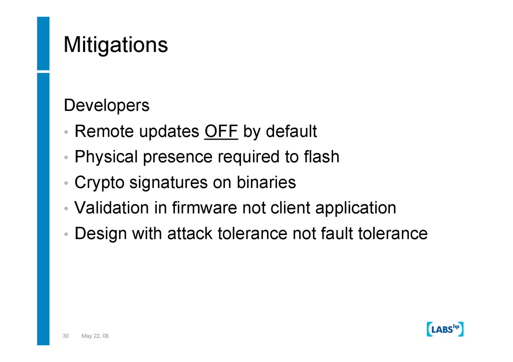 30 May 22, 08 Mitigations Developers •  Remote ...