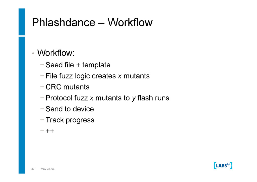 37 May 22, 08 Phlashdance – Workflow •  Workflo...