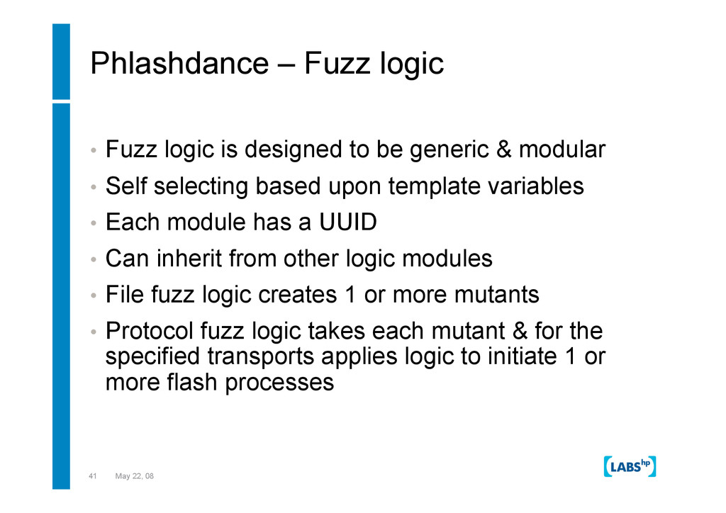 41 May 22, 08 Phlashdance – Fuzz logic •  Fuzz ...