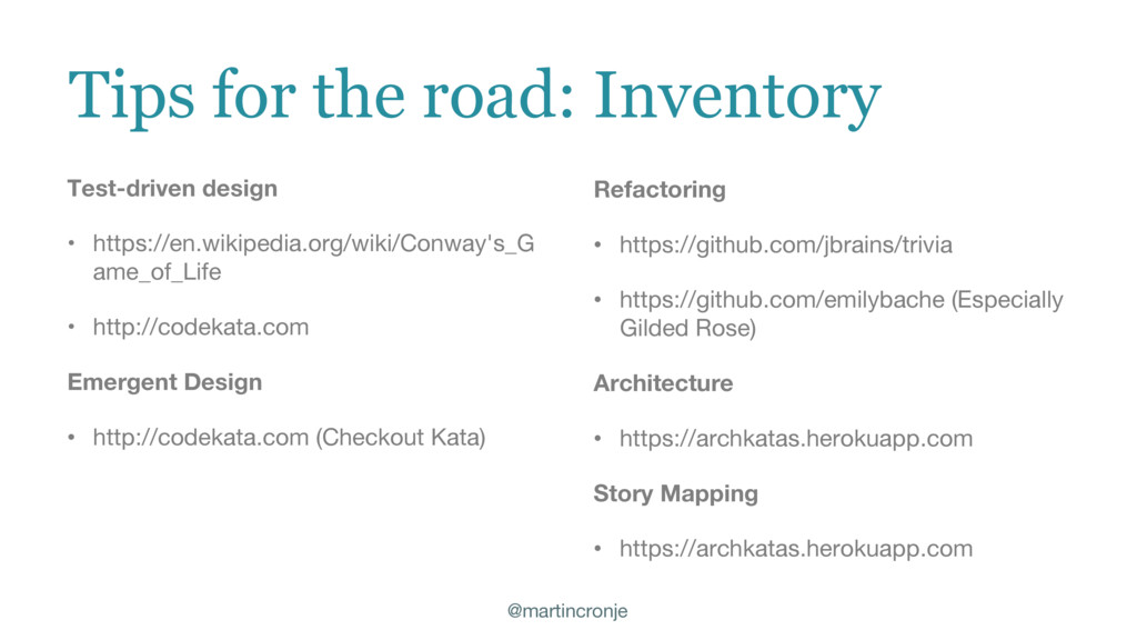 @martincronje Tips for the road: Inventory Test...