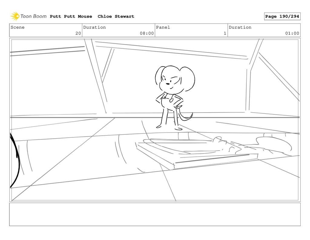 Scene 20 Duration 08:00 Panel 1 Duration 01:00 ...