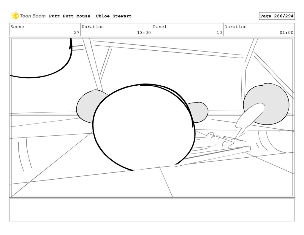 Scene 27 Duration 13:00 Panel 10 Duration 01:00...