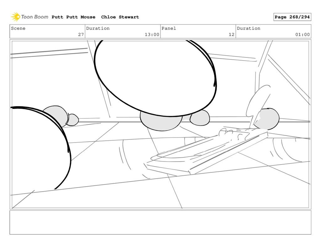 Scene 27 Duration 13:00 Panel 12 Duration 01:00...