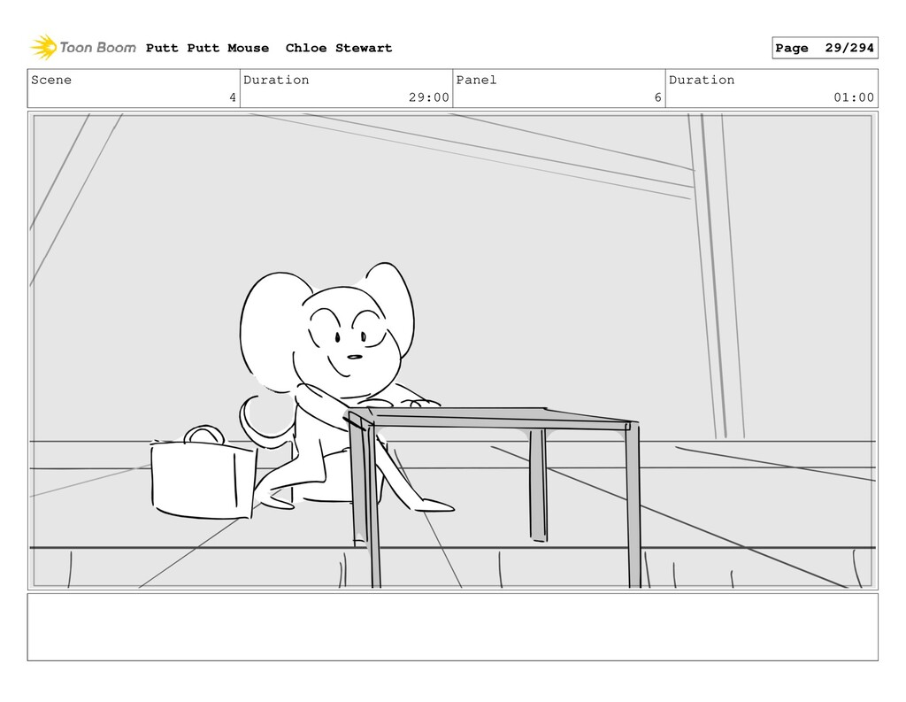 Scene 4 Duration 29:00 Panel 6 Duration 01:00 P...