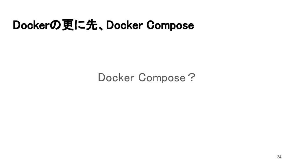 Dockerの更に先、Docker Compose Docker Compose? 34