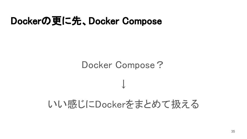 Dockerの更に先、Docker Compose Docker Compose? ↓ ...
