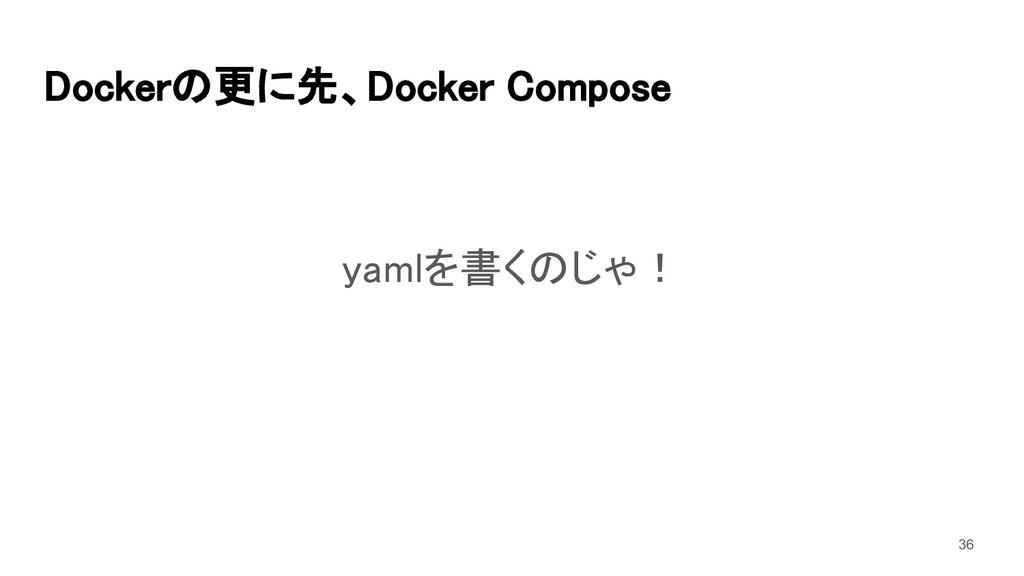 Dockerの更に先、Docker Compose yamlを書くのじゃ! 36