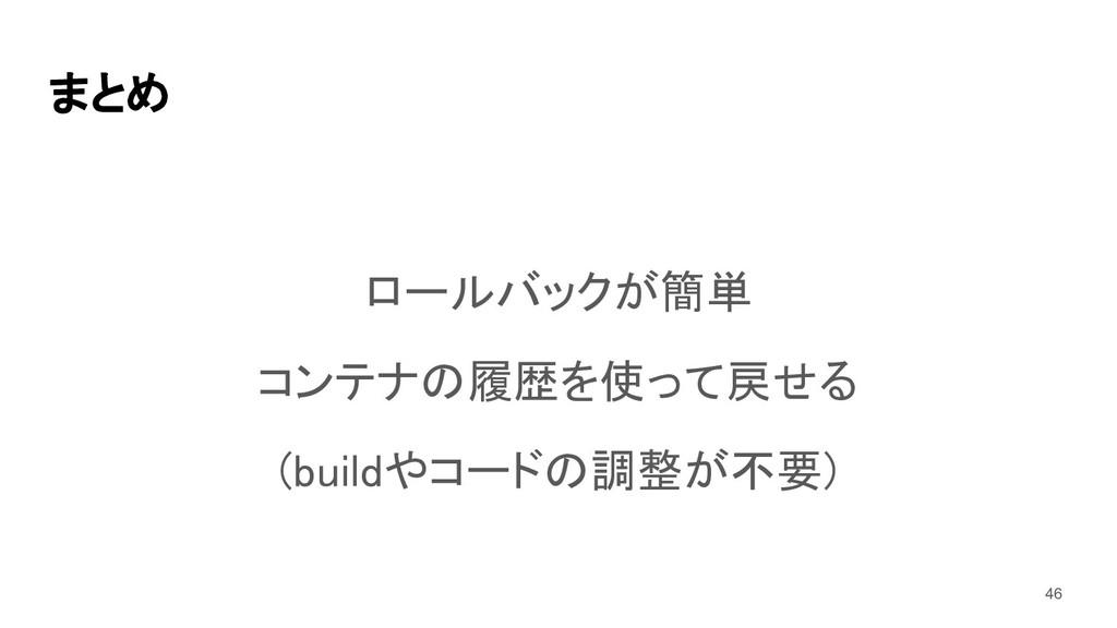 まとめ ロールバックが簡単 コンテナの履歴を使って戻せる (buildやコードの調整が不...