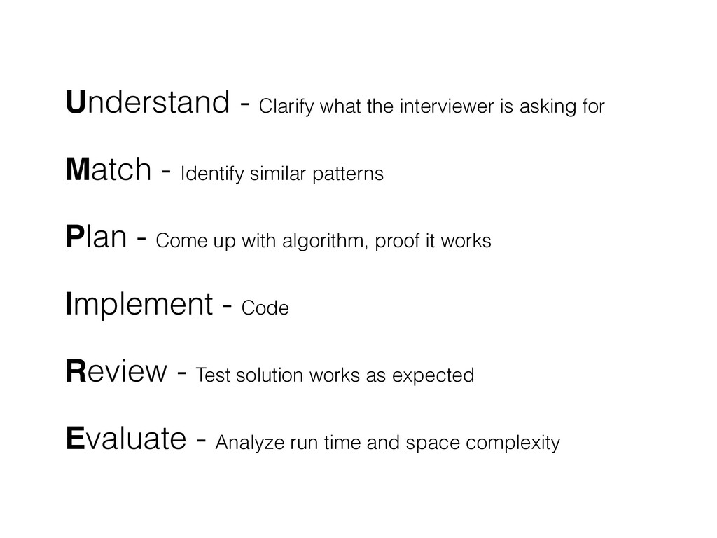 Understand - Clarify what the interviewer is as...