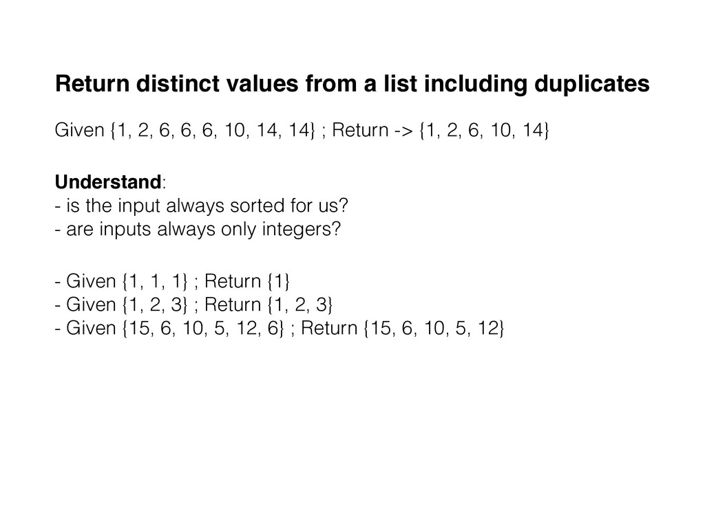 Return distinct values from a list including du...