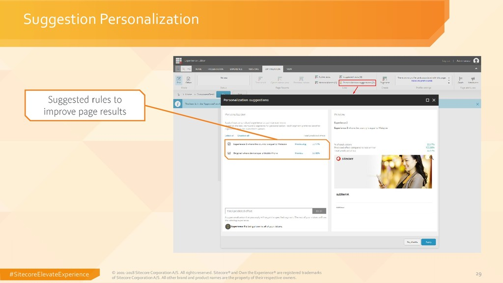#SitecoreElevateExperience 29 Suggestion Person...