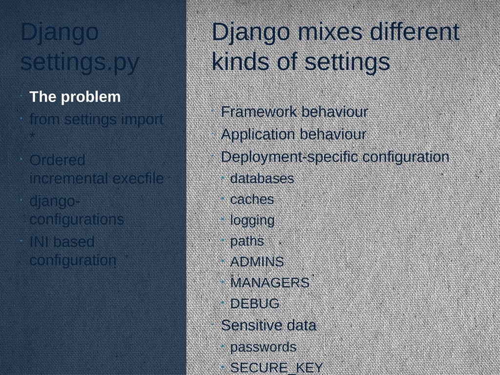 Django settings.py Django mixes different kinds...