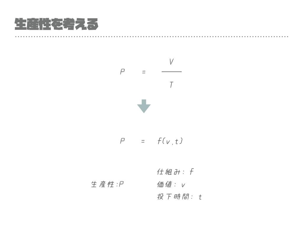 生産性を考える P T V = P = f(v,t) 仕組み: f 価値: v 投下時間: t...