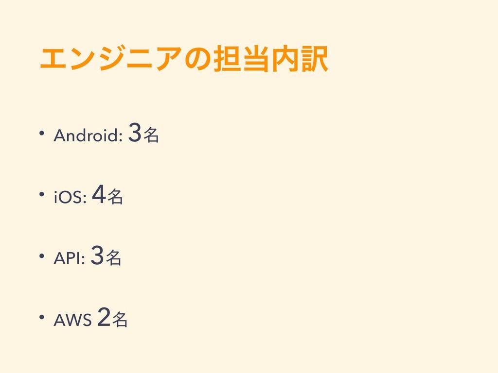 ΤϯδχΞͷ୲༁ • Android: 3໊ • iOS: 4໊ • API: 3໊ • ...