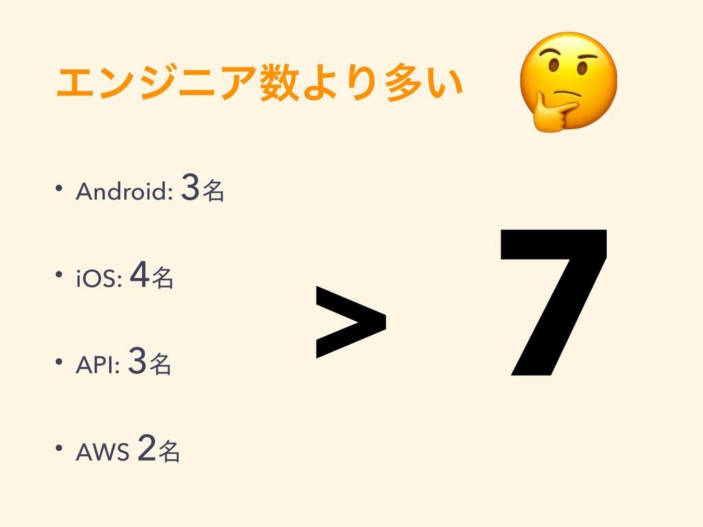 ΤϯδχΞΑΓଟ͍ • Android: 3໊ • iOS: 4໊ • API: 3໊ • ...