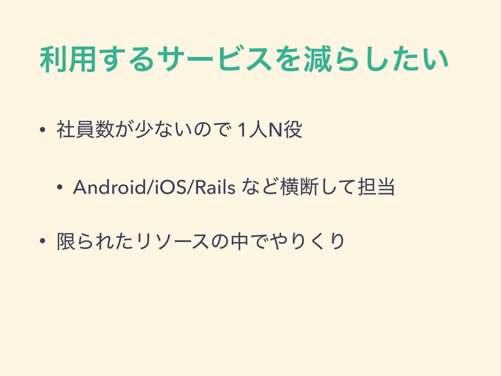 ར༻͢ΔαʔϏεΛݮΒ͍ͨ͠ • ࣾһ͕গͳ͍ͷͰ 1ਓN • Android/iOS/R...