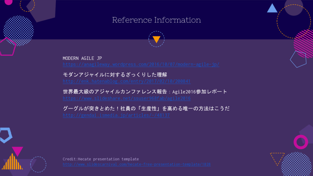 Reference Information MODERN AGILE JP https://a...