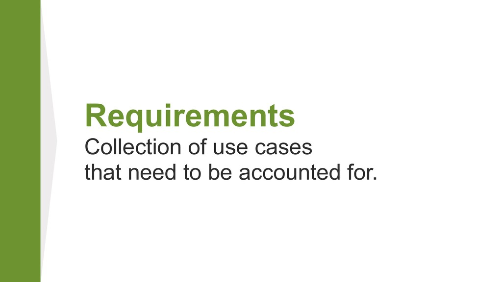 Requirements Collection of use cases that nee...