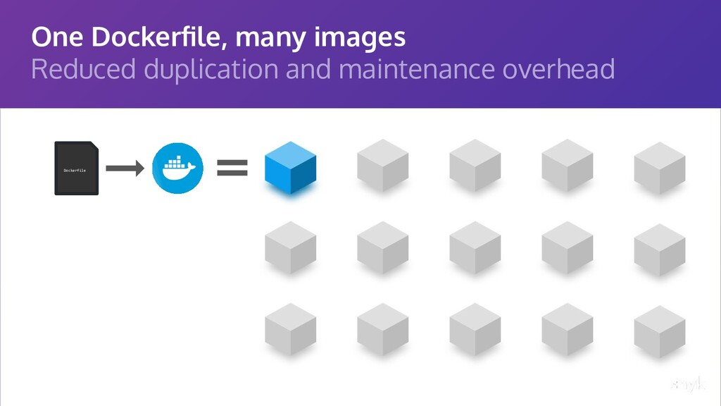 One Dockerfile, many images Reduced duplication ...