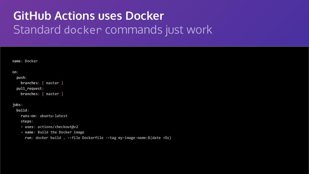 GitHub Actions uses Docker Standard docker comm...