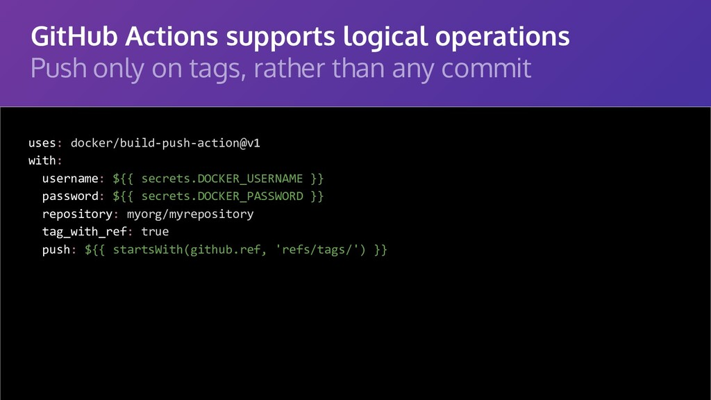GitHub Actions supports logical operations Push...