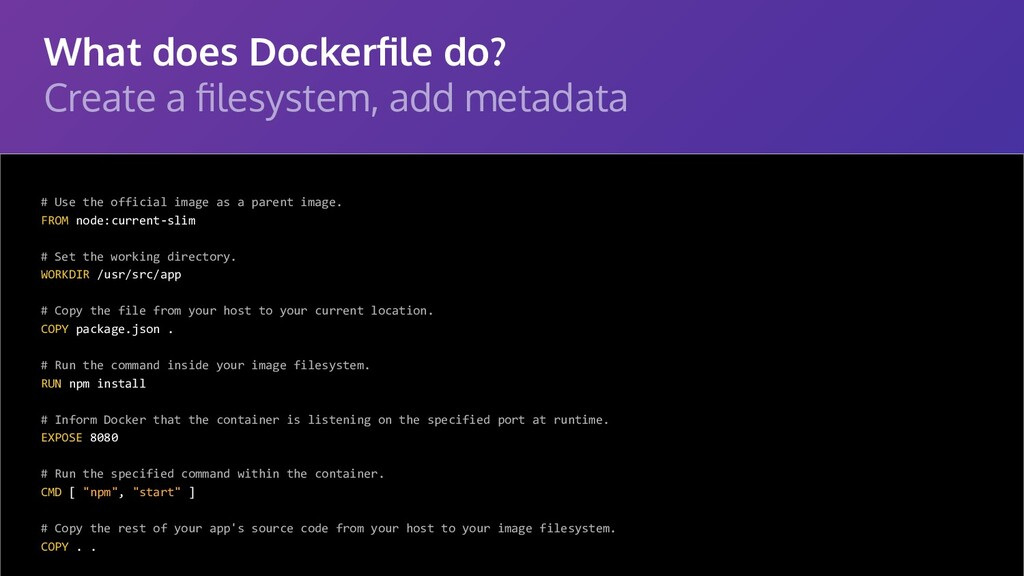 What does Dockerfile do? Create a filesystem, add...
