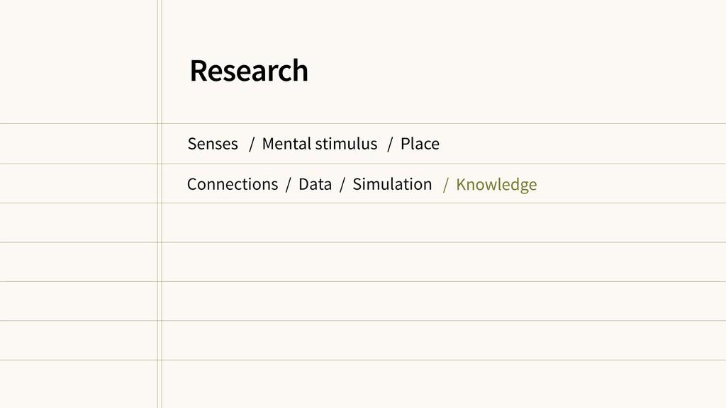Senses / Mental stimulus / Place / Knowledge Re...