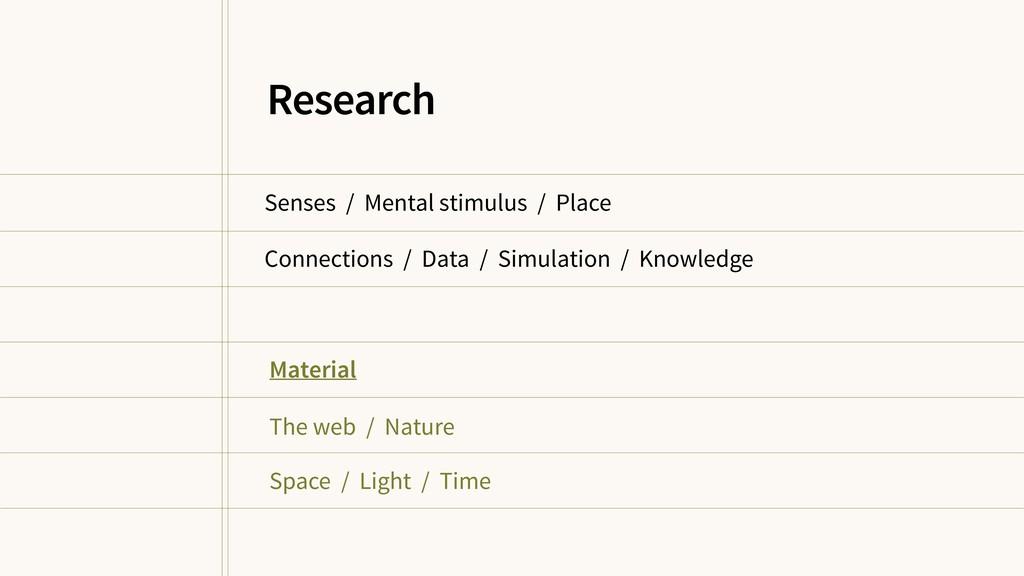 Senses / Mental stimulus / Place Connections / ...