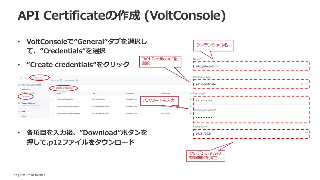 """  ©2021 F5 NETWORKS 20 • VoltConsoleで""""General""""タ..."""