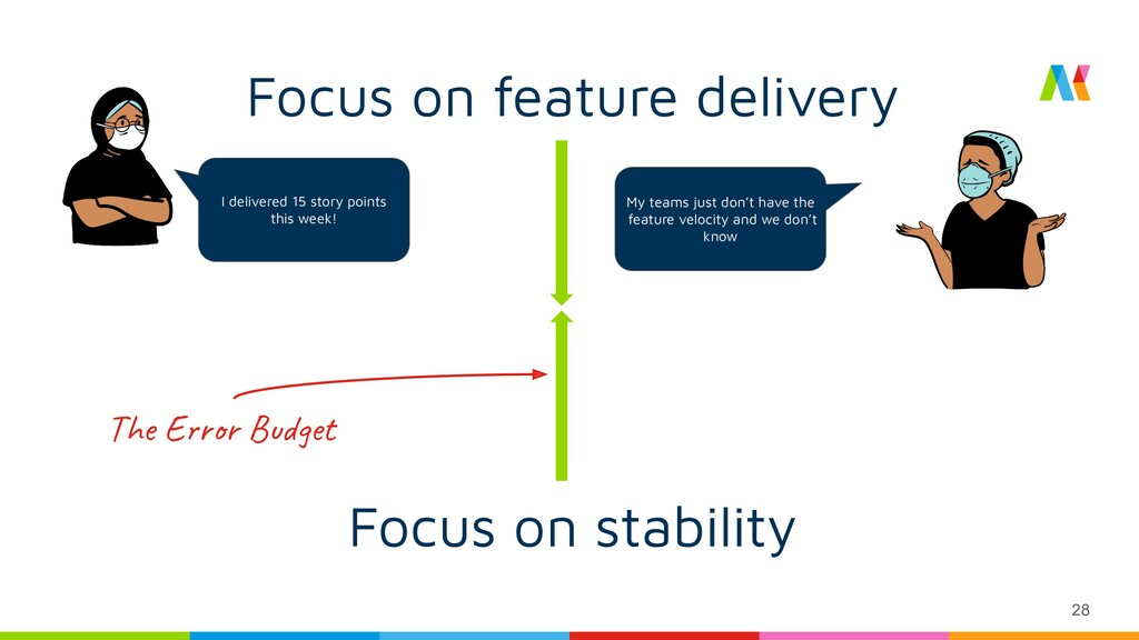 28 Focus on feature delivery Focus on stability...